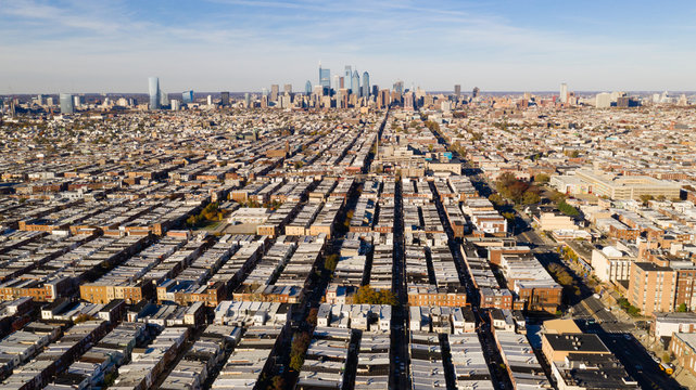 Seemingly Endless Rows of Houses Outside Downtown in South Philadelphia