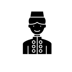 Hotel staff black icon, concept vector sign on isolated background. Hotel staff illustration, symbol