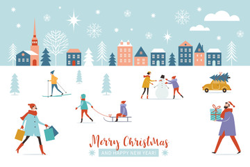 Christmas banner, Winter scene, Christmastime, Christmas and New Year Greeting card, flat vector illustrations