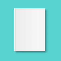 Vertical closed book mock up isolated on mint green background. White blank cover. 3D realistic book, notepad, diary etc vector illustration