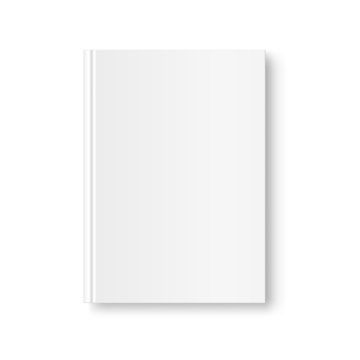 Vertical closed book mock up isolated on white background. White blank cover. 3D realistic book, notepad, diary etc vector illustration