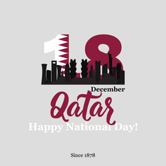 Qatar national day on 18-th december. With national flag and Silhouette of the City