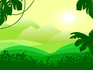 Landscape with Mountain and green field view. Vector illustration of sunrise in the tropical plants.