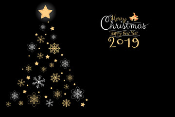 Merry Christmas and Happy New Year 2019 greeting card, banner, brochure with black background with copy sspace. Calligraphy hand script vector illutration.