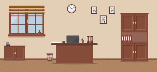 Workplace in a spacious office on a cream background. Vector illustration. Table, cupboard, Cabinet, folder, clock, cactus, books, diplomas. Wooden floor. Ideal for advertising, website and magazine