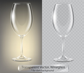 Transparent vector wineglass for dark background