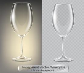 Transparent vector wineglass for dark background