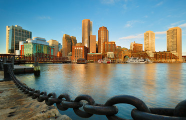 Boston Financial District at Sunrise, Boston, Massachusetts
