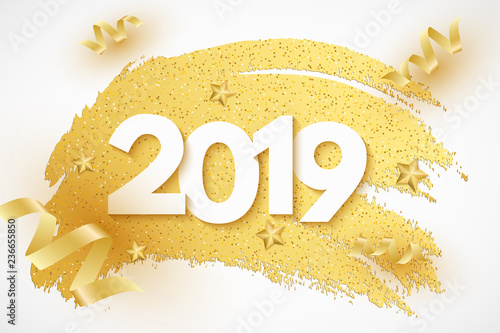 Happy New Year 2019 Web Banner 3d Numbers Banner In Grunge Style