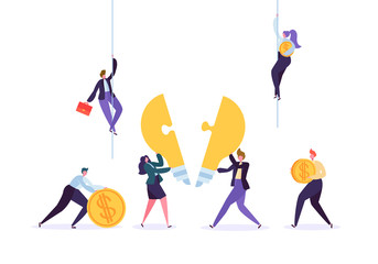 Creating idea, teamwork, business innovation concept. Business people characters team working collecting puzzle pieces of light bulb. Vector illustration