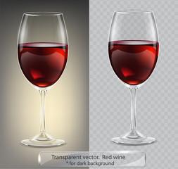 Fototapeta Transparent vector wineglass with red wine. For dark background obraz