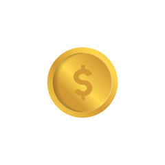 Vector dollar coin icon. Money sign. Currency symbol. Finance illustration. Earnings symbol