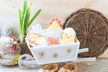 Easter gingerbread in a basket