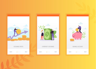Finance success onboarding screens template. Business characters collecting money profit, wealth concept for mobile app design or website. Vector illustration