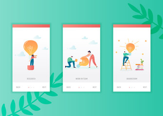Creative idea onboarding screens template. Business people characters with light bulb mobile app design. Innovation concept for mobile applications or website. Vector illustration