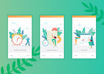 Time management onboarding screens template. Business people characters planning mobile app design. Scheduling concept for mobile applications or website. Vector illustration
