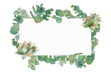 Watercolor green square frame with silver dollar eucalyptus leaves and branches with succulents isolated on white background.
