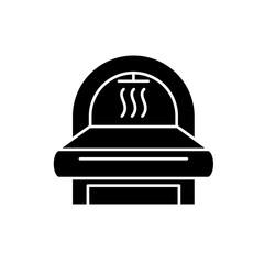Mri black icon, concept vector sign on isolated background. Mri illustration, symbol