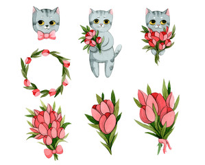 Cats with flowers.