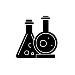 Chemical laboratory black icon, concept vector sign on isolated background. Chemical laboratory illustration, symbol