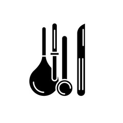Medical instruments black icon, concept vector sign on isolated background. Medical instruments illustration, symbol