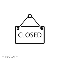 sign closed, icon vector