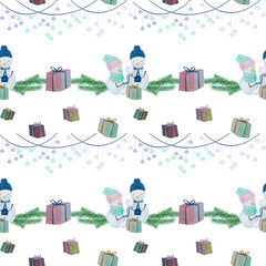 seamless pattern with snowmen with colored pencils