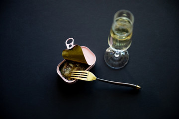 Champagne and sardine