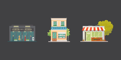 Shop store buildings vector illustrations set. Market exterior, restaurant. Vegetable store, pharmacy, boutique, urban front houses.