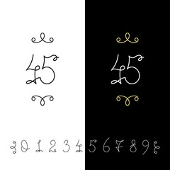 Set of vector calligraphy numbers from 0 to 9. Lined ornate monogram.