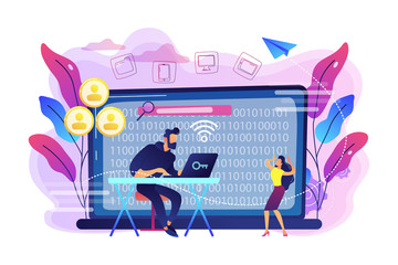 Hacker gathering target individuals sensitive data and making it public. Doxing, gathering online information, hacking exploit result concept. Bright vibrant violet vector isolated illustration