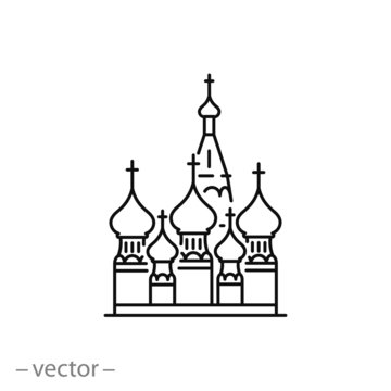 St Basil's Cathedral, outline icon isolated on white background. Red Square, Moscow, Russia. Vector illustration eps10