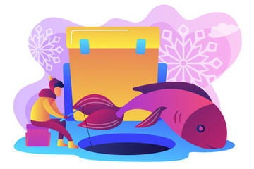 Fisherman in warm clothes with a rod fishing on ice and a huge fish in winter. Ice fishing, ice fishing tools, winter outdoor activities concept. Bright vibrant violet vector isolated illustration