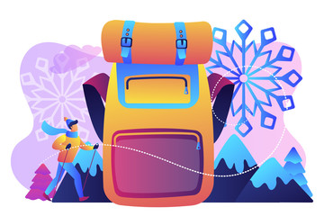 Hiker in warm clothes walking in the mountains in winter and a huge backpack. Winter hiking, hiking warm clothing, mountain winter walking concept. Bright vibrant violet vector isolated illustration