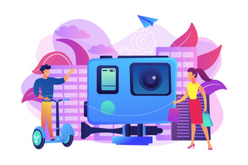 Businessman riding segway on the city tour, shopper and action camera. City segway tours, modern urban tourism, city tourist excursion concept. Bright vibrant violet vector isolated illustration