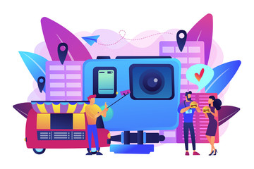 Tourists eat and like local cuisine, taking selfies and action camera. Culinary tourism, authentic food experience, food exploring tourism concept. Bright vibrant violet vector isolated illustration