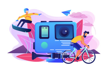 Extreme sportsmen riding a bike and snowboarding, participating in dangerous event. Extreme tourism, shock tourism, extreme industry events concept. Bright vibrant violet vector isolated illustration