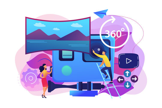 Business people on virtual reality tour 360 watching beautiful landscape and a camera. Virtual tour, 3d reality tours, virtual reality walk concept. Bright vibrant violet vector isolated illustration