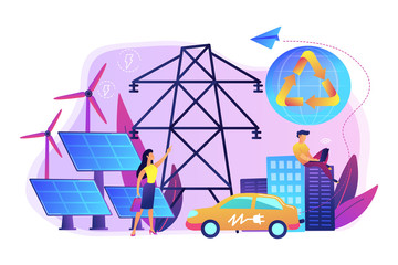 Business people use clean renewable electric energy in the city. Renewable energy, renewable power resources, rural energy services concept. Bright vibrant violet vector isolated illustration
