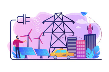 Businessman in green city and electric car using alternative fuel. Alternative fuels, chemically stored electricity, non-fossil sources concept. Bright vibrant violet vector isolated illustration