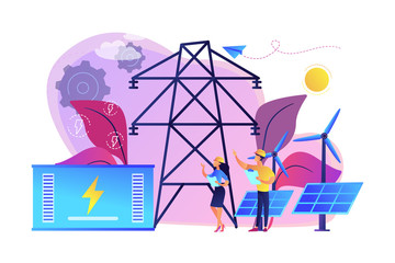 Battery energy storage from renewable solar and wind power station. Energy storage, energy collection methods, electrical power grid concept. Bright vibrant violet vector isolated illustration
