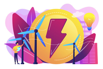 Engineer working with wind turbines producing green energy, light bulb. Wind power, renewable energy, green electricity supply concept. Bright vibrant violet vector isolated illustration
