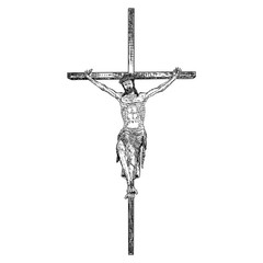 Jesus on the cross, son of God crucifixion, Hand drawn sketch before good Friday. Vector.