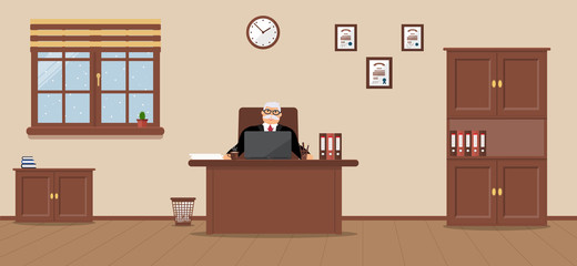 An elderly businessman sitting in the workplace in a spacious office on a cream background. Vector illustration. It's snowing outside.Table, wardrobe, diplomas. Wooden floor. Perfect for advertising