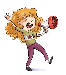 niña gritando con megafono