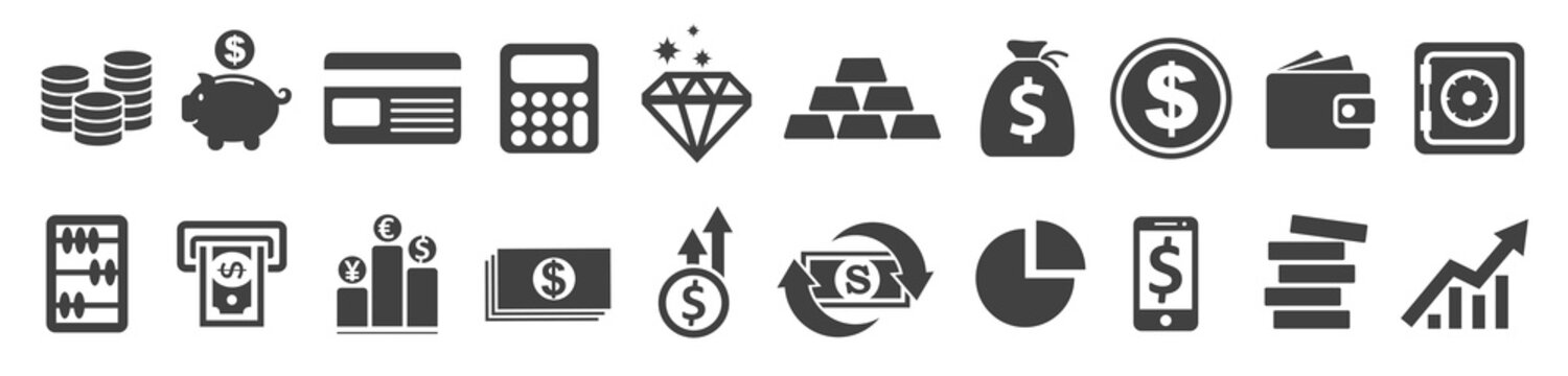 Set Flat Business Icons, money signs - stock vector