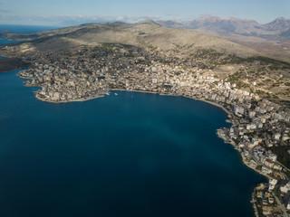 Drone photo of saranda Albania. a Mediterranean city located in Europe, near Greece and Italy
