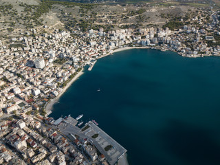 The centre of Saranda city aerial view shows the port the bay and a lot of buildings. saranda Balkan Europe destination