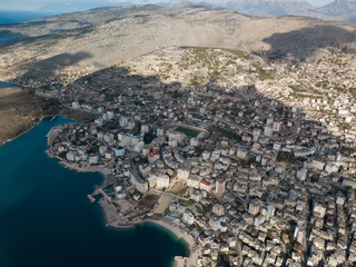 Shapes of building crowded city in saranda Albania
