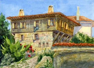 Watercolor illustration of the old town. Houses with tiled roofs.